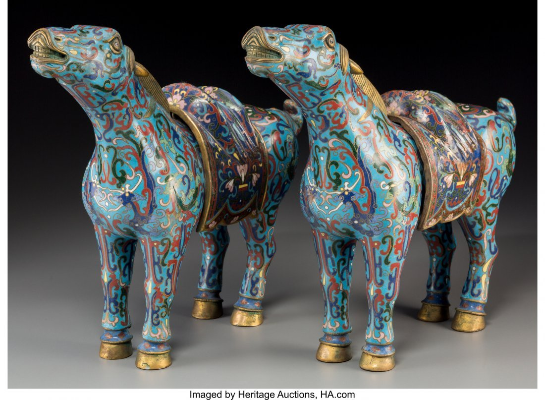 63758: A Pair of Chinese Cloisonné Horses 11-1/2 inche