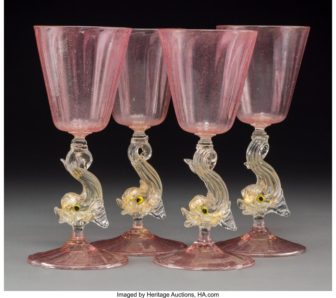 63667: Four Murano Glass Wine Stems with Dolphin Motif,