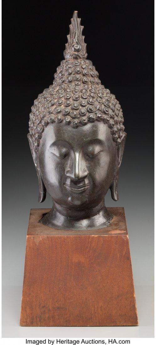 63761: A Thai Patinated Bronze Head of Buddha, 20th cen