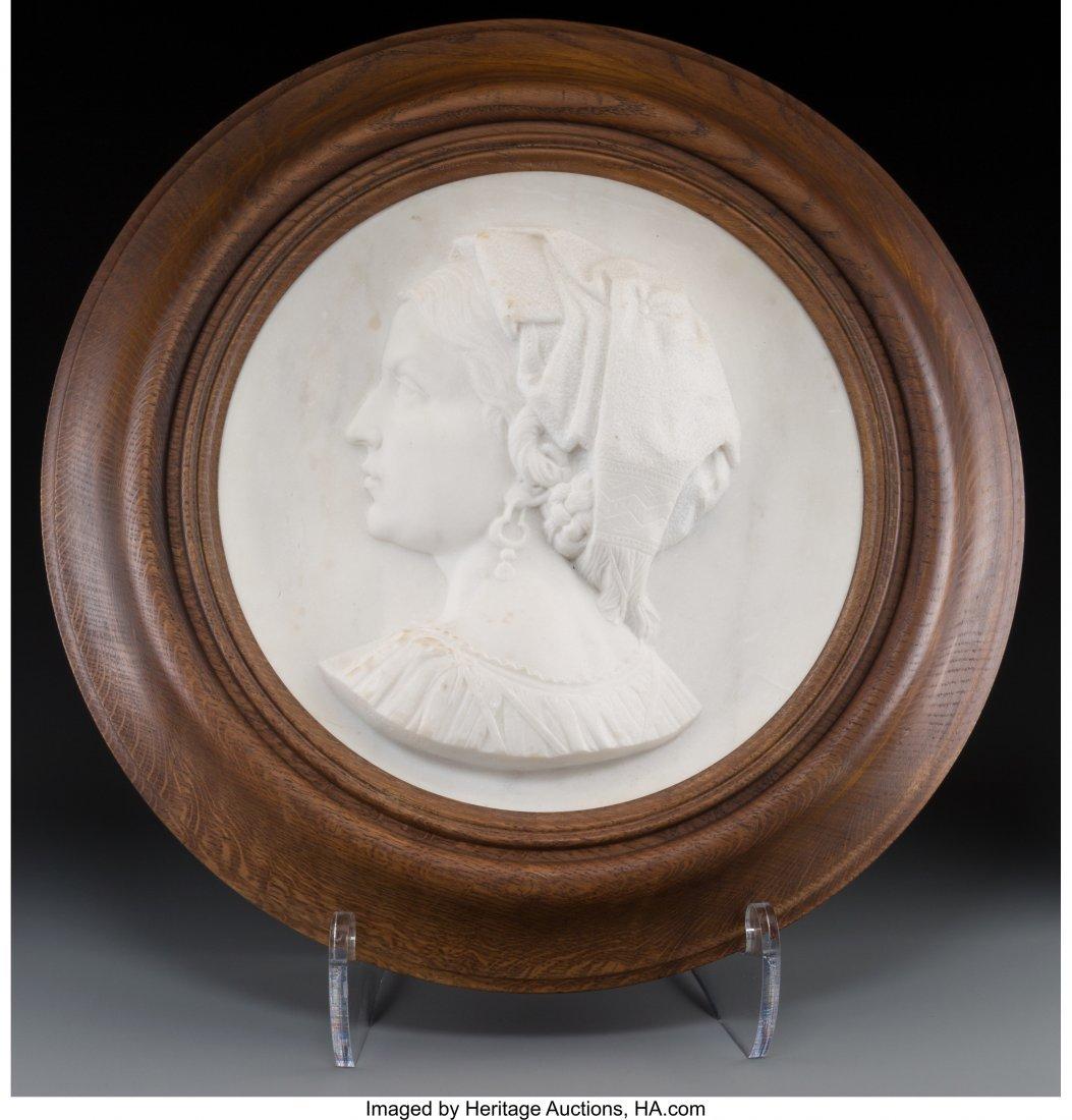 63682: An Italian Carved Carrara Marble Portrait Plaque