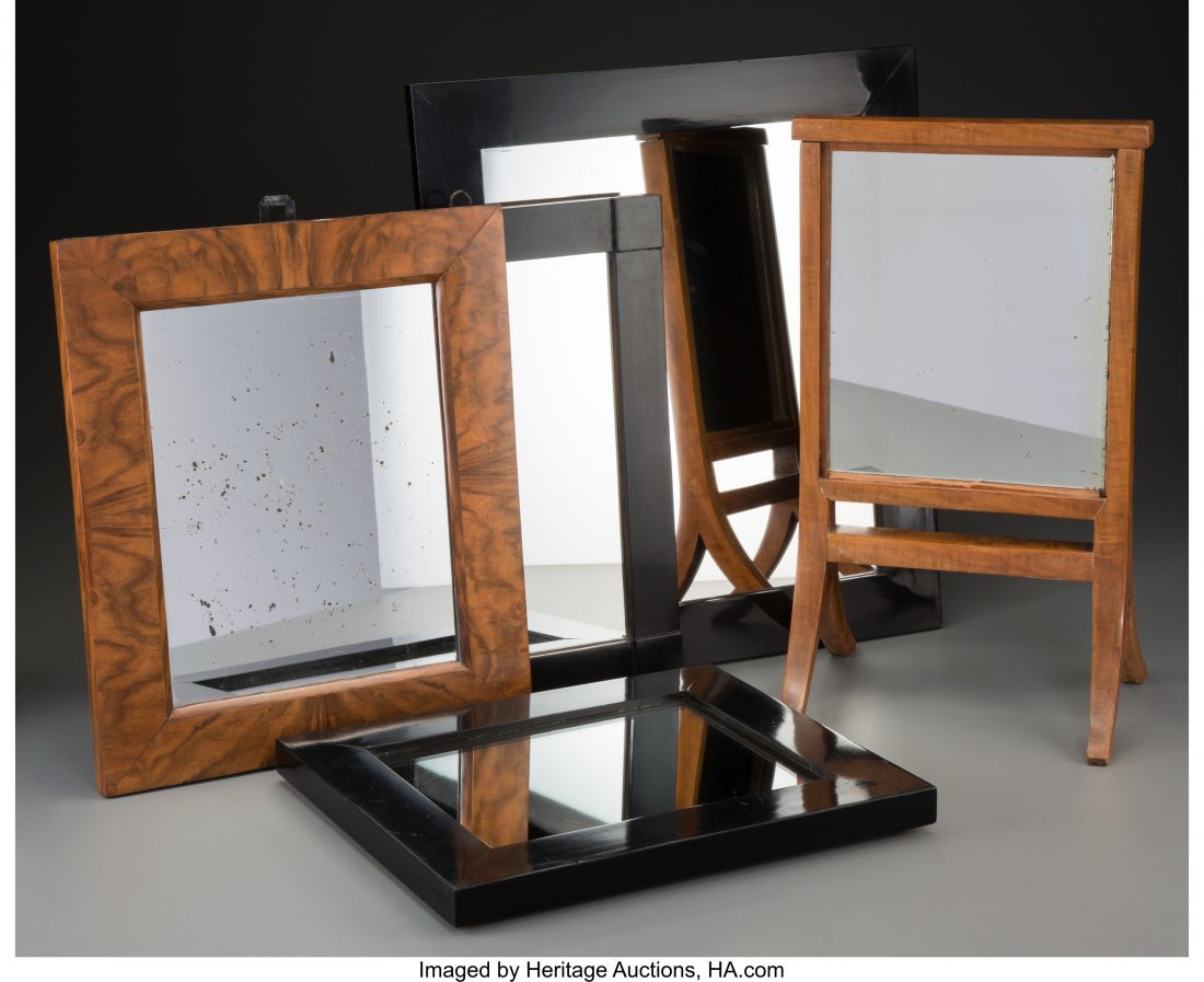 63686: Five German Wood Framed Mirrors 17-1/2 inches hi