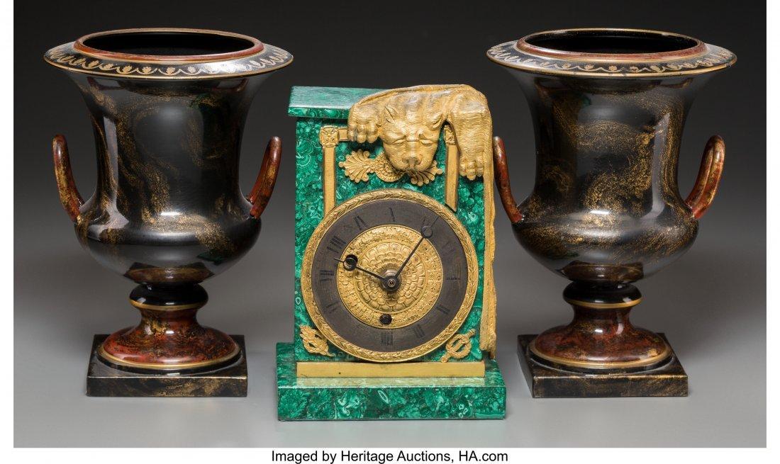 63687: An Empire-Style Malachite and Gilt Bronze Clock