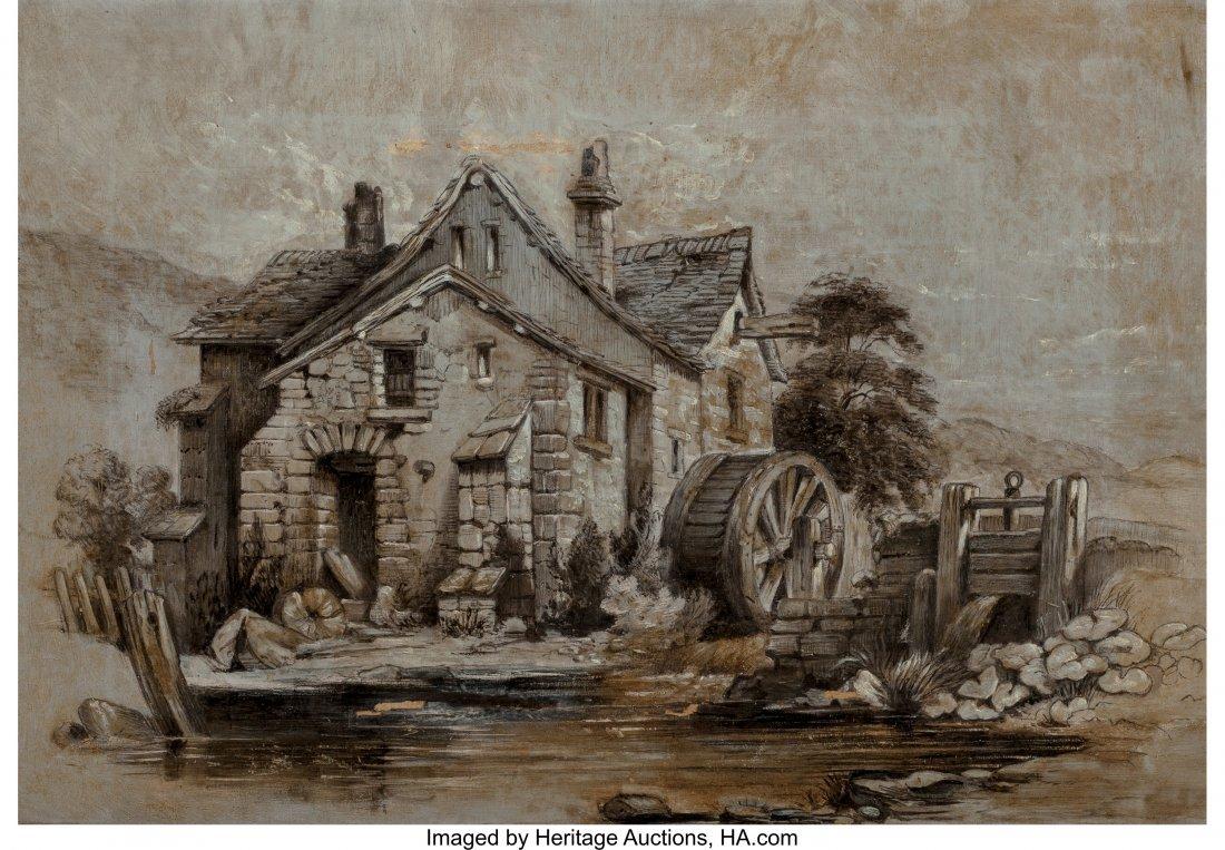 63934: American School (20th Century) Water Wheel Oil o