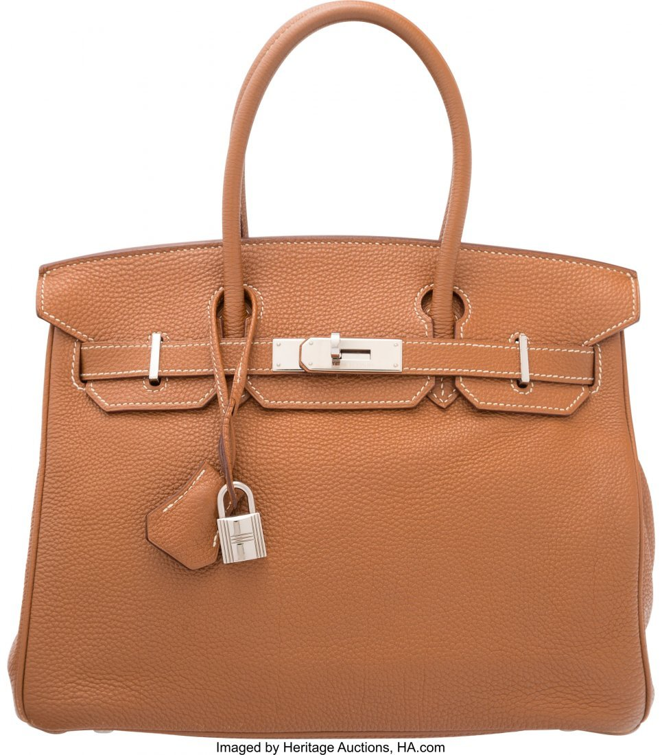 58172: Hermes 30cm Gold Togo Leather Birkin Bag with Pa
