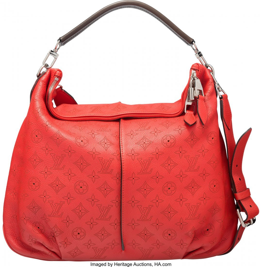 58058: Louis Vuitton Red Mahina Leather Selene Bag MM C