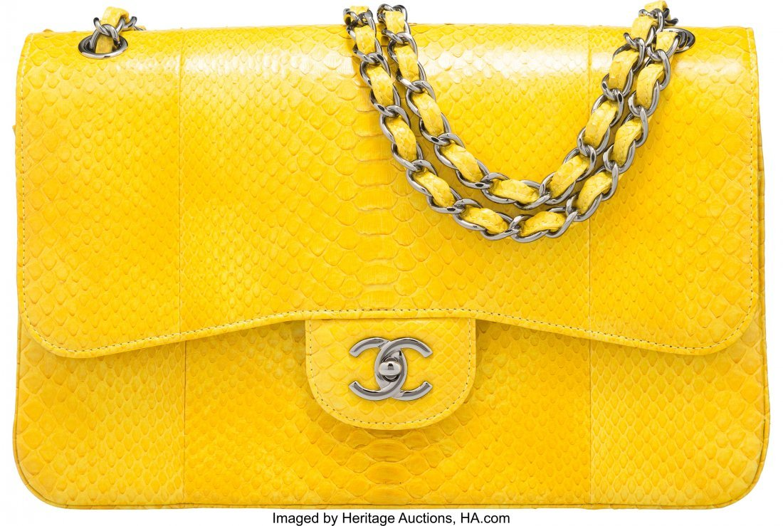 58001: Chanel Yellow Python Jumbo Double Flap Bag with