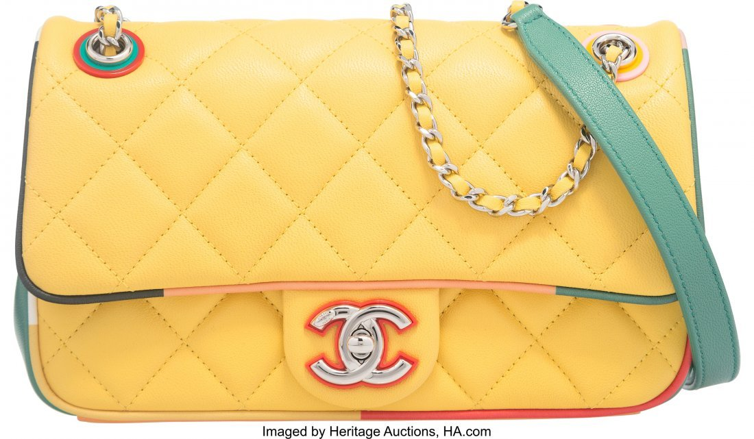 58002: Chanel Yellow Quilted Lambskin Cuba Collection S