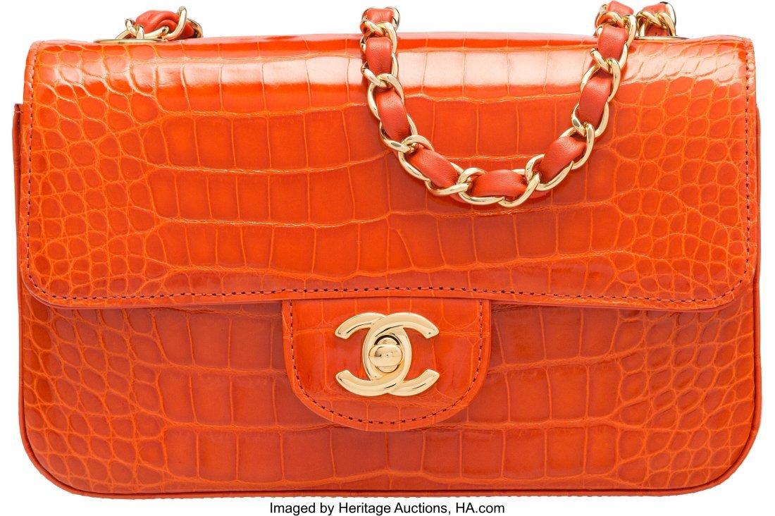 58003: Chanel Orange Alligator Small Classic Flap Bag w