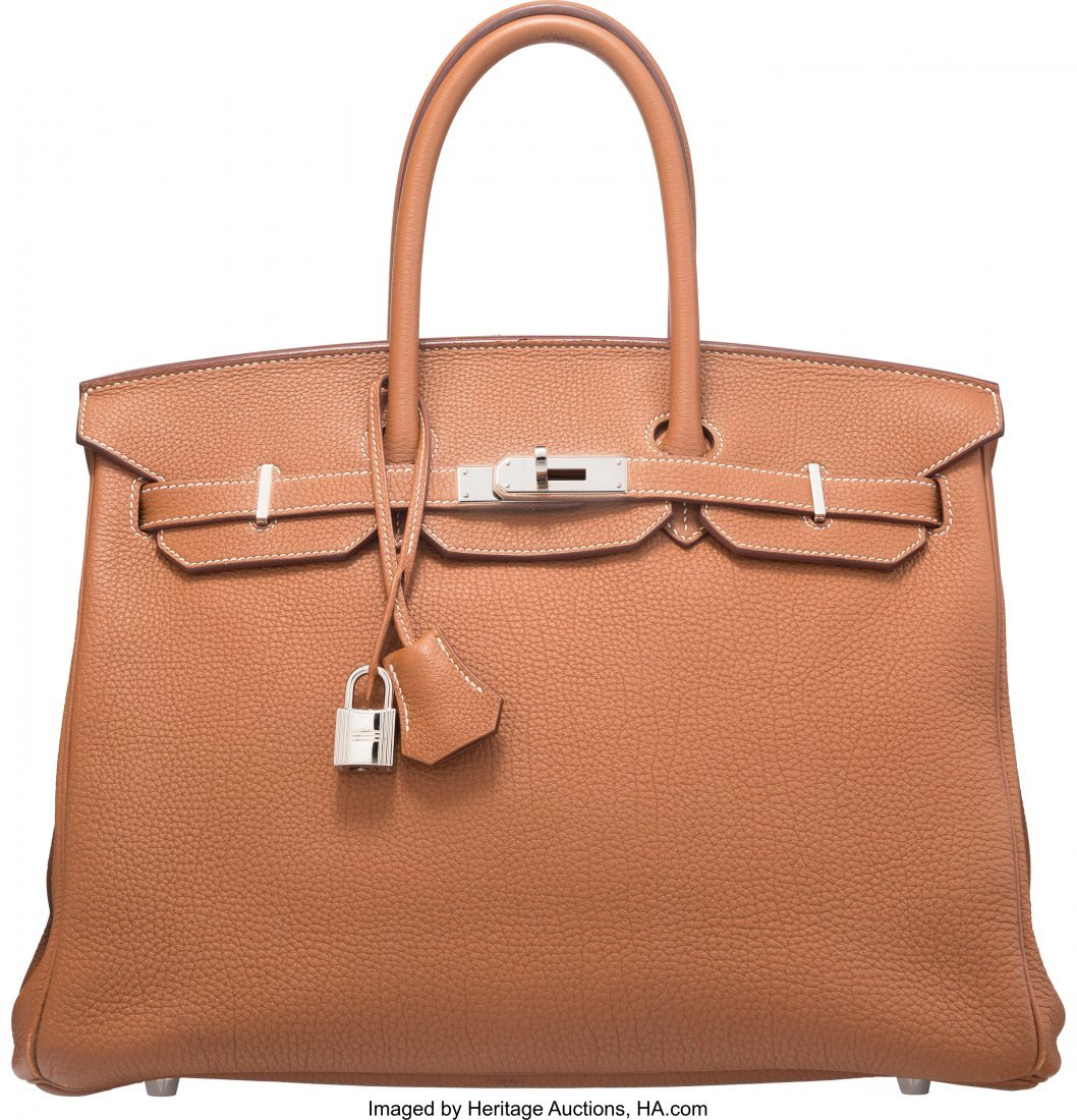 58175: Hermes 35cm Gold Togo Leather Birkin Bag with Pa