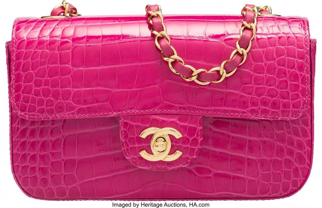58004: Chanel Fuchsia Alligator Small Classic Flap Bag