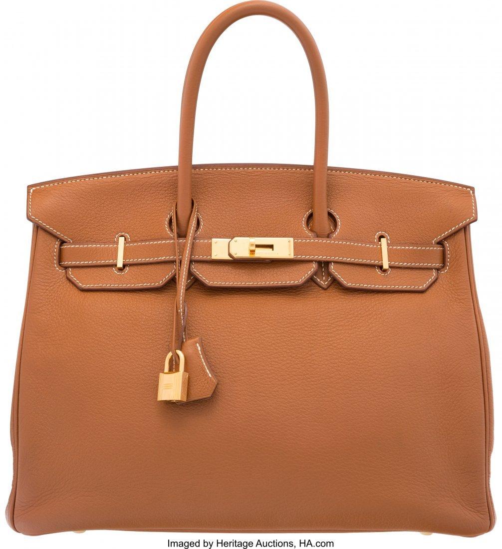 58176: Hermes 35cm Gold Clemence Leather Birkin Bag wit