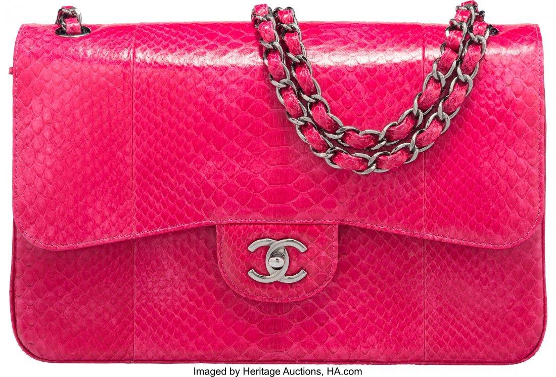 58005: Chanel Fuchsia Python Jumbo Classic Double Flap