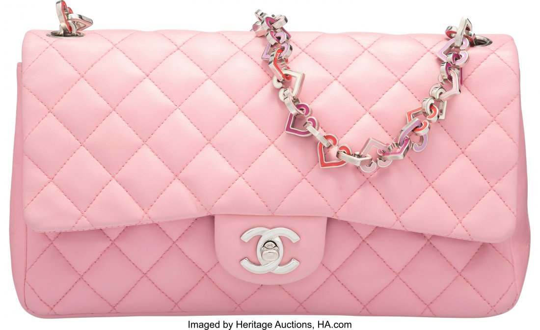 58006: Chanel Pink Quilted Lambskin Leather Heart Valen