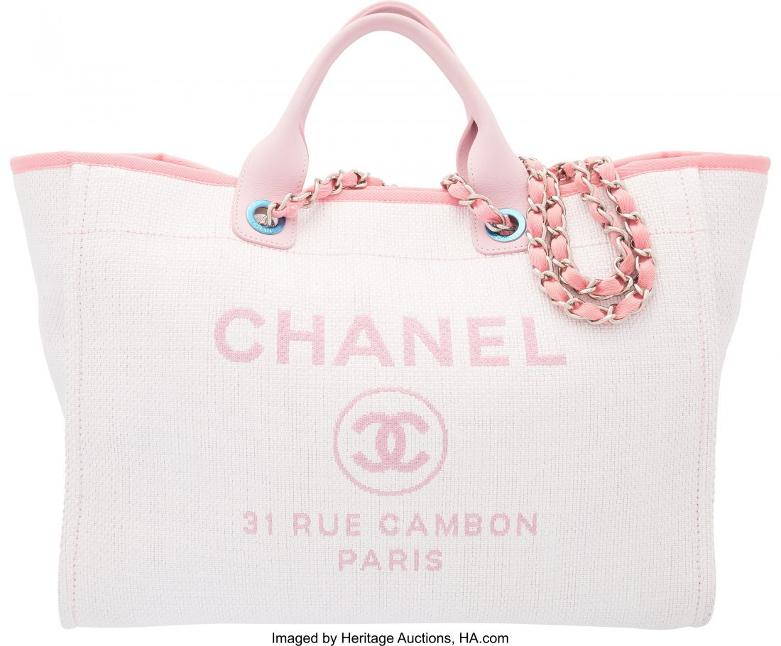 58007: Chanel Pink Woven Straw Large Deauville Tote Bag