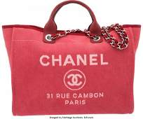 58008: Chanel Red Canvas Large Deauville Tote Bag Condi