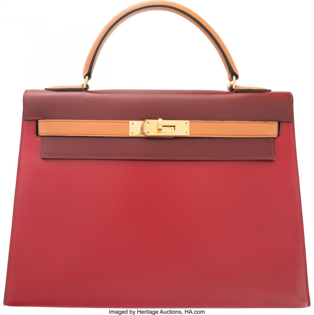 58070: Hermes 32cm Limited Edition Tri-Color Rouge Vif