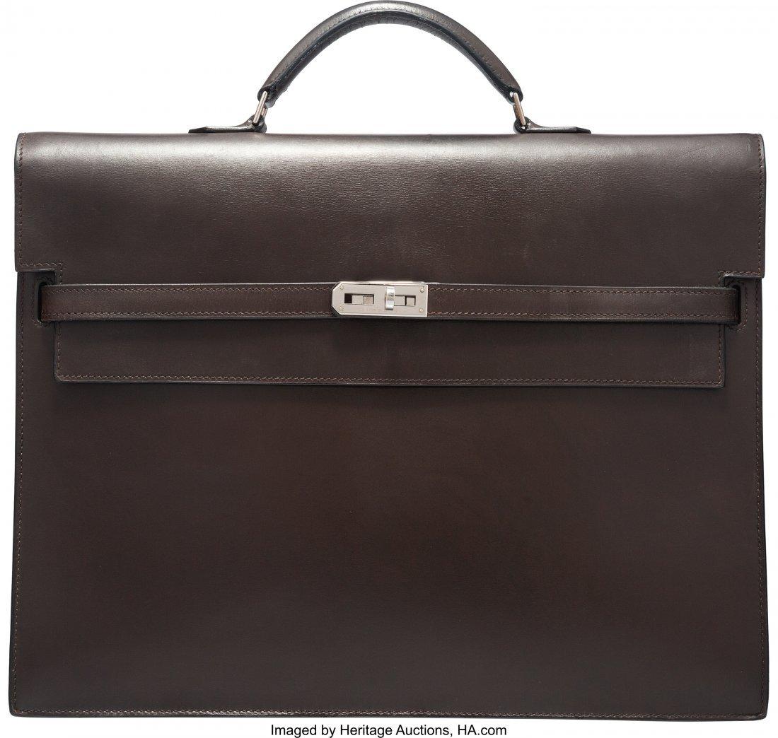 58180: Hermes 37cm Marron Fonce Calf Box Leather Kelly