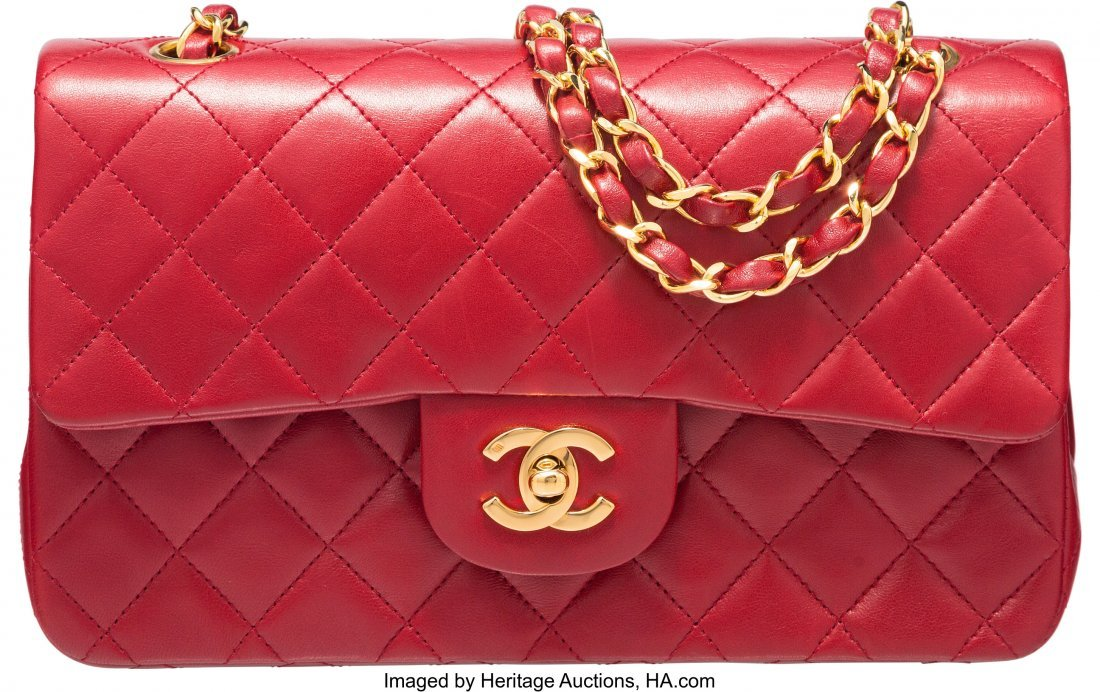 58009: Chanel Red Lambskin Leather Medium Double Flap B