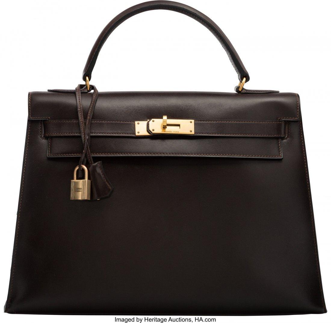 58181: Hermes 32cm Marron Fonce Calf Box Leather Sellie