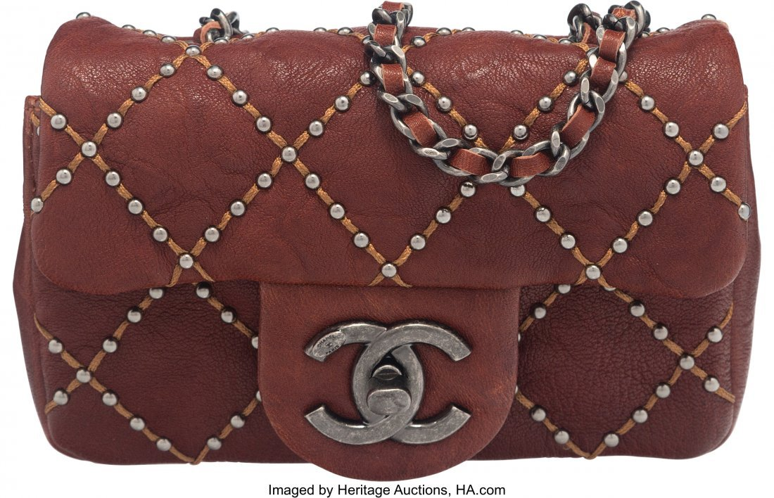 58010: Chanel Paris-Dallas Burgundy Quilted Studded Dis