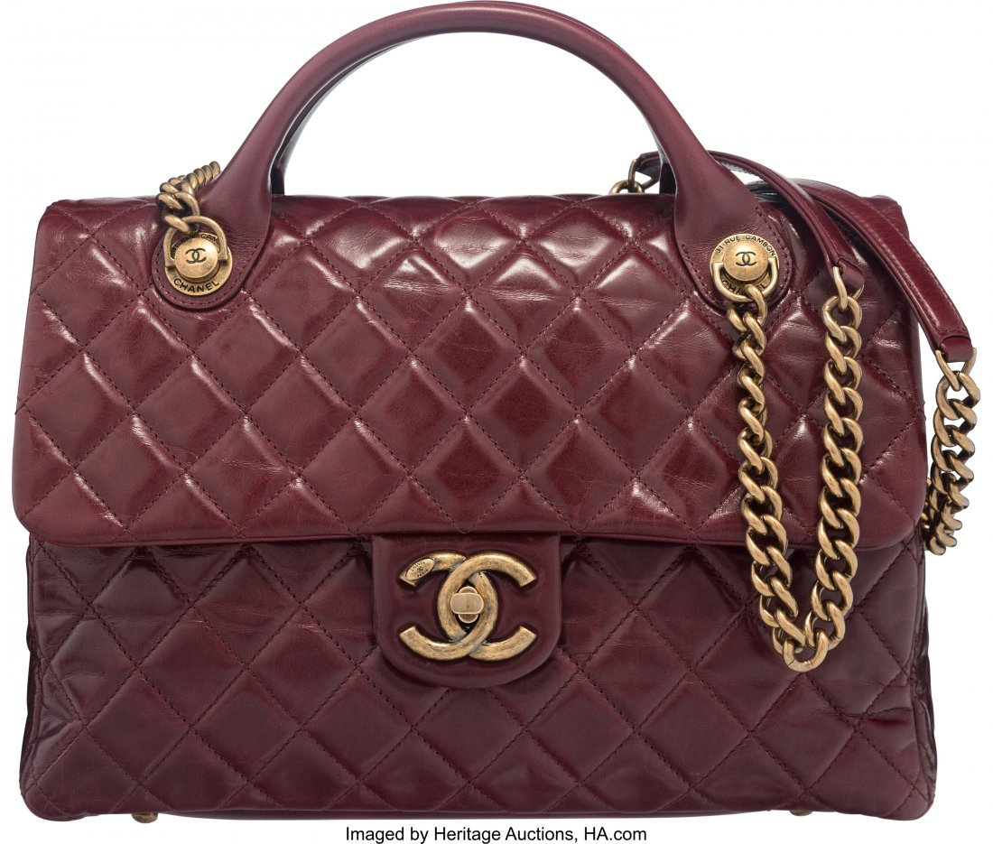 58011: Chanel Bordeaux Quilted Glazed Calfskin Leather