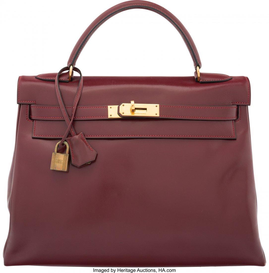 58075: Hermes 32cm Rouge H Calf Box Leather Retourne Ke