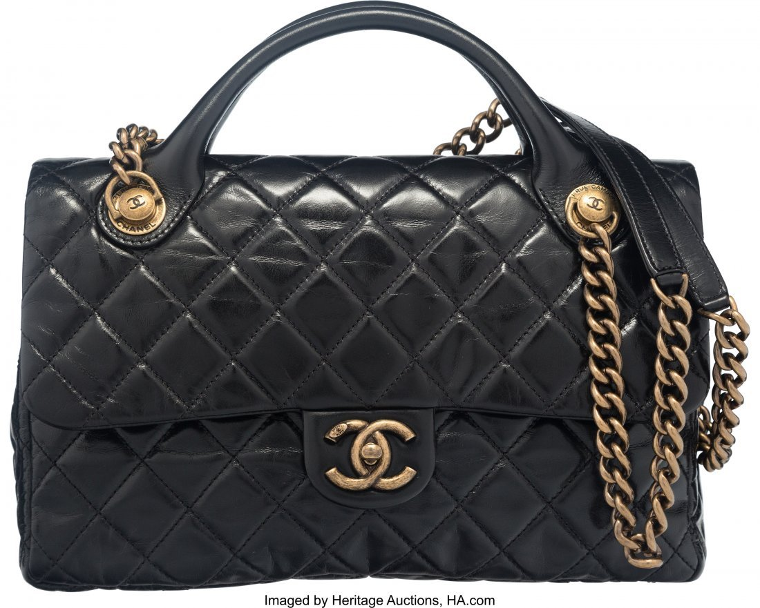 58012: Chanel Black Glazed Calfskin Leather Classic Qui
