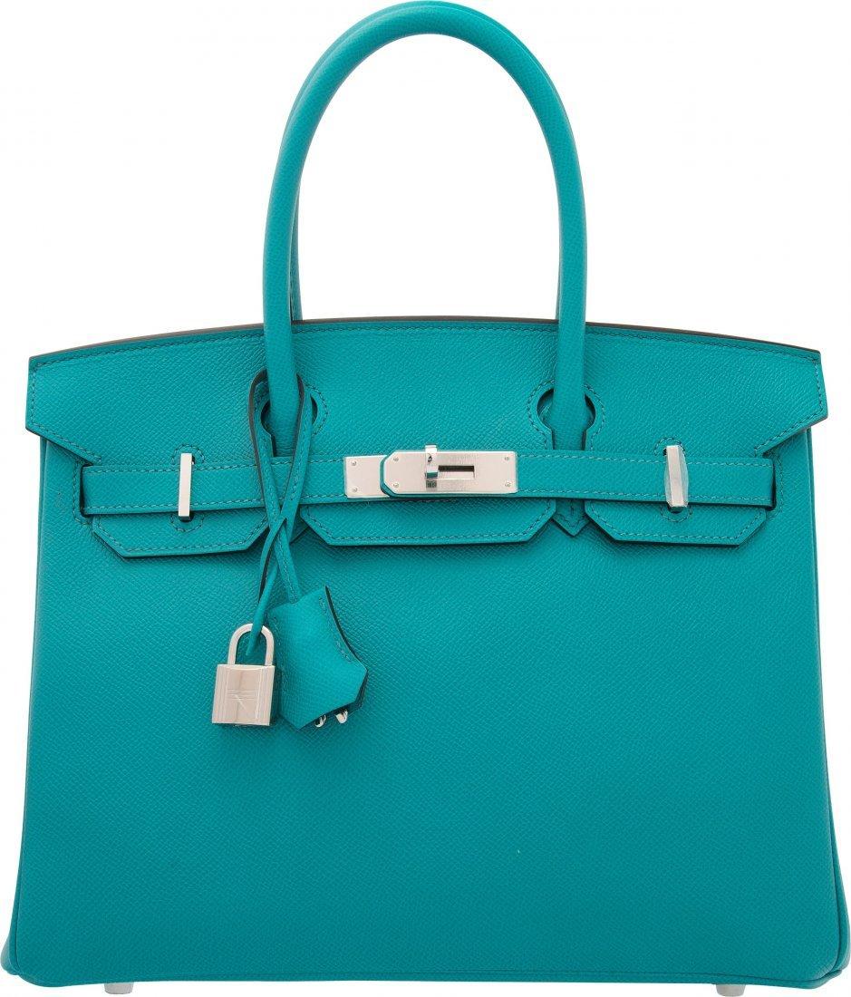 58127: Hermes 30cm Blue Paon Epsom Leather Birkin Bag w