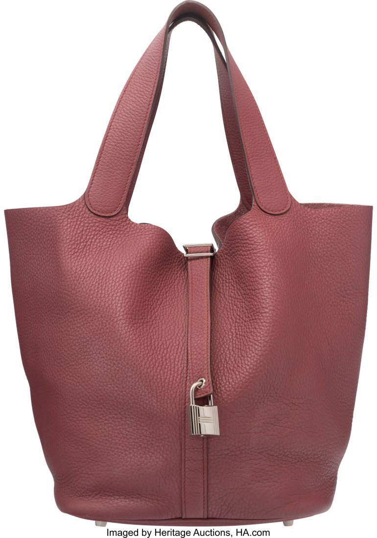 58078: Hermes Bois de Rose Togo Leather Picotin MM Bag