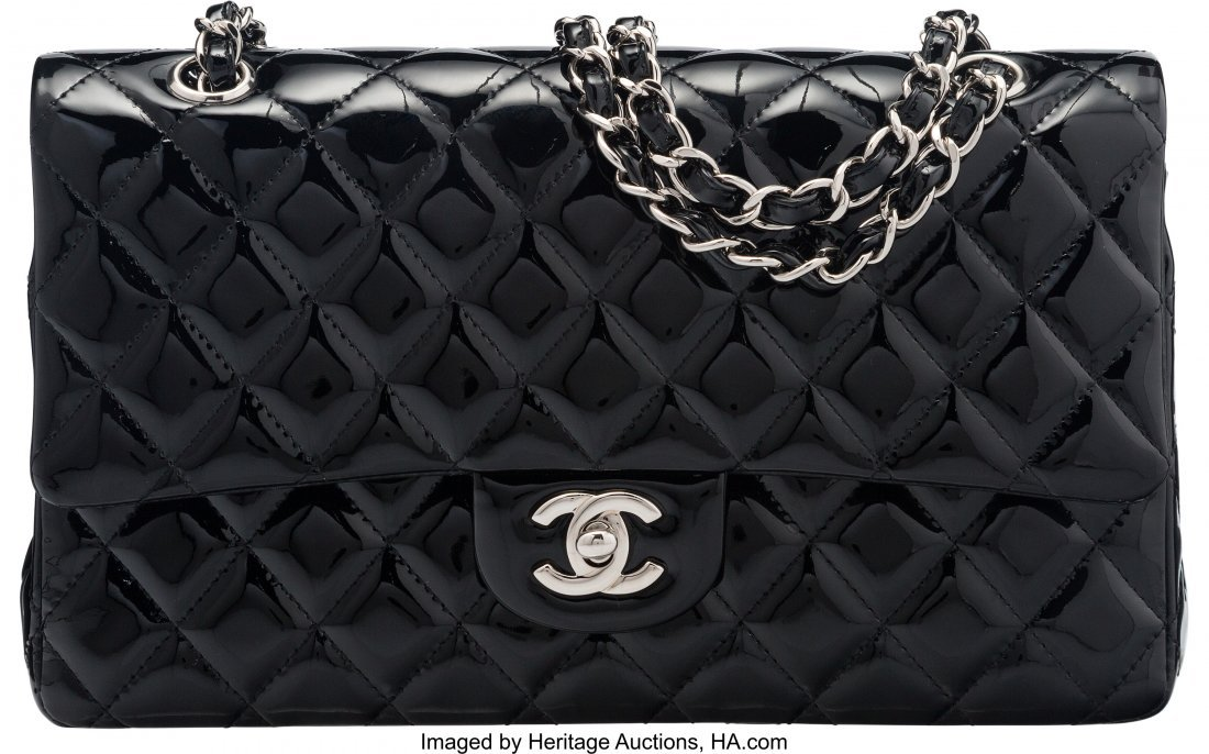 58014: Chanel Black Quilted Patent Leather Medium Doubl