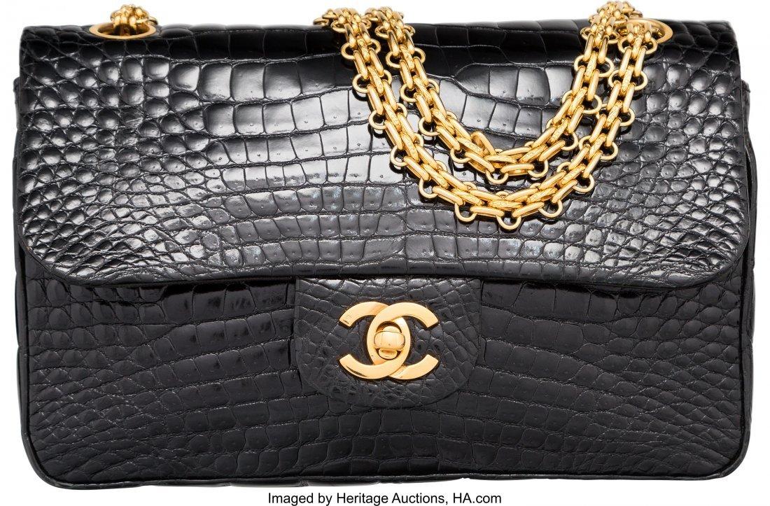 58016: Chanel Shiny Black Crocodile Small Double Flap B