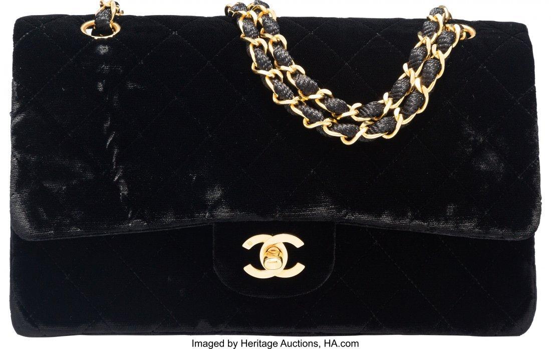 58017: Chanel Black Velvet Medium Double Flap Bag with