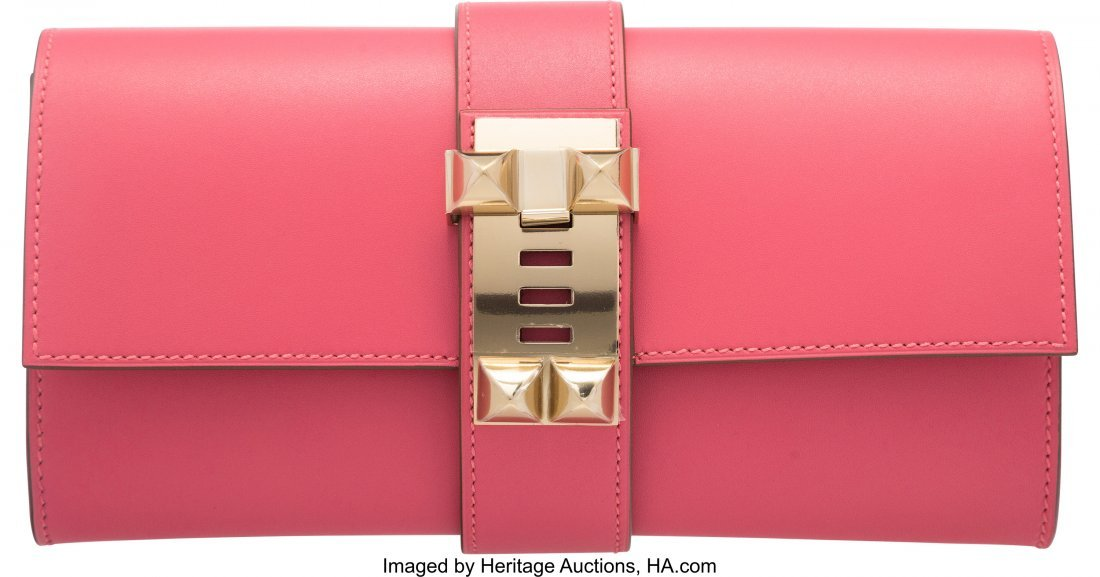 58084: Hermes 23cm Rose Lipstick Tadelakt Leather Medor