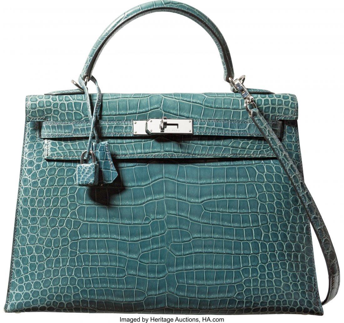 58131: Hermes 32cm Blue Jean Porosus Crocodile Sellier