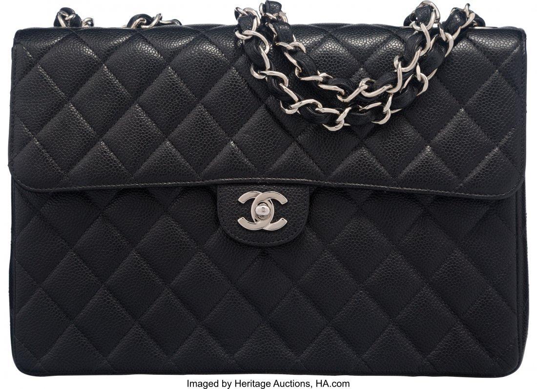 58018: Chanel Black Caviar Leather Jumbo Classic Single