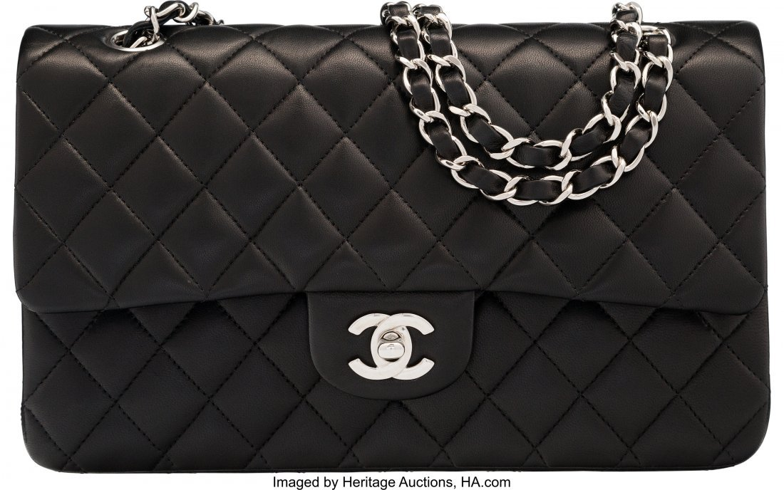 58019: Chanel Black Quilted Lambskin Leather Medium Dou