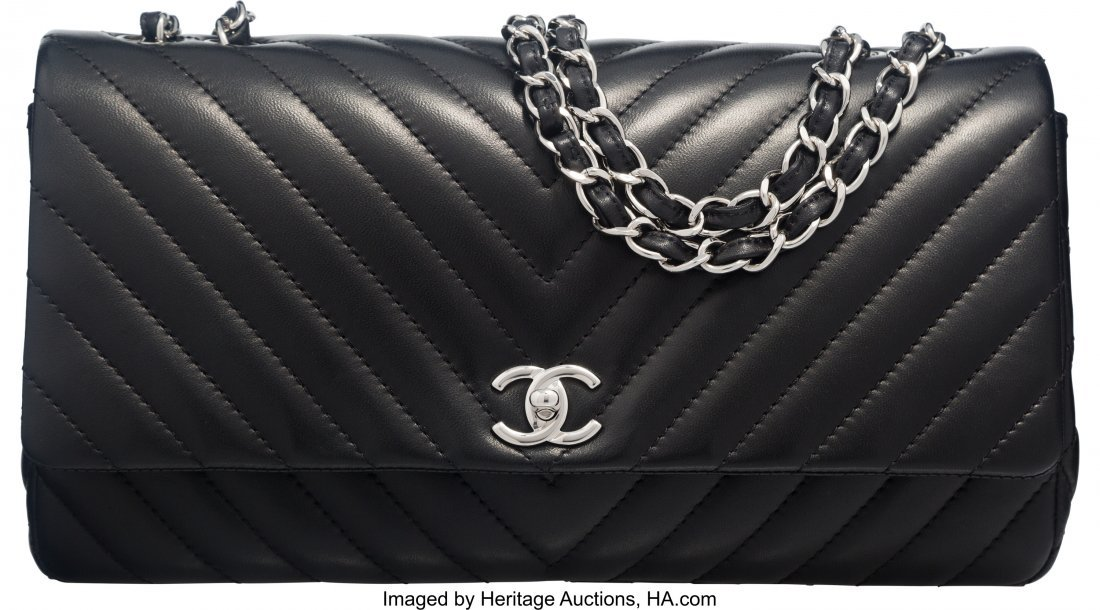 58020: Chanel Black Lambskin Leather Chevron Quilted Si