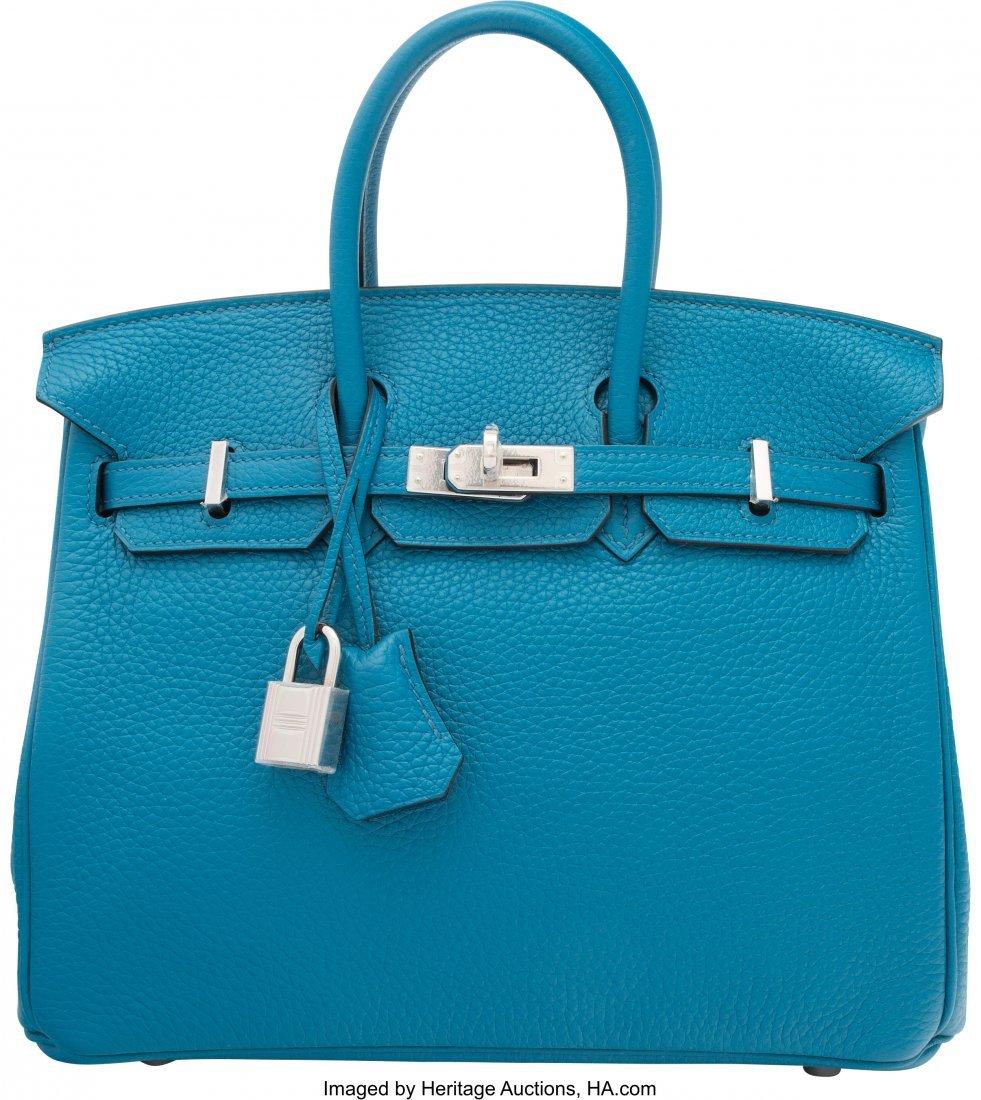58135: Hermes 25cm Blue Izmir Togo Leather Birkin Bag w