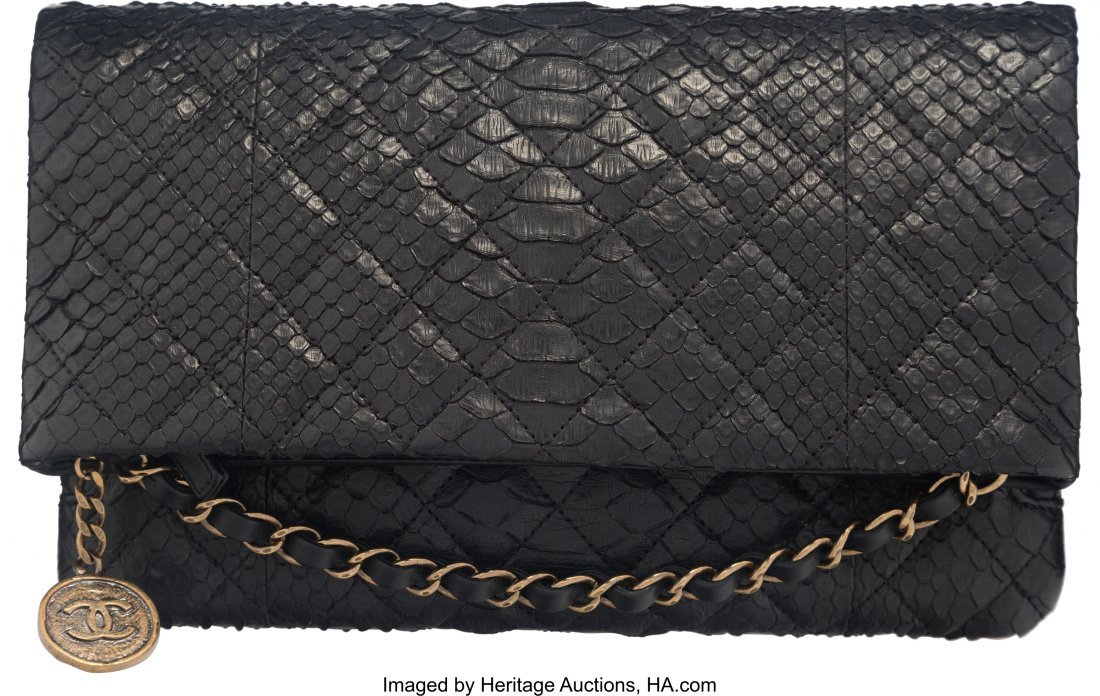 58023: Chanel Black Quilted Python Medallion Charm Fold