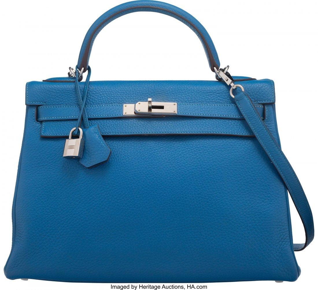 58137: Hermes 32cm Mykonos Togo Leather Retourne Kelly