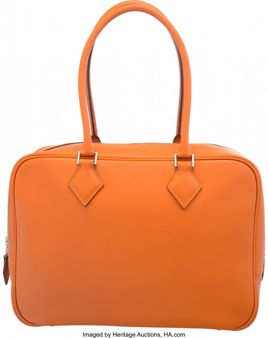 58094: Hermes 28cm Orange H Swift Leather Plume Bag wit