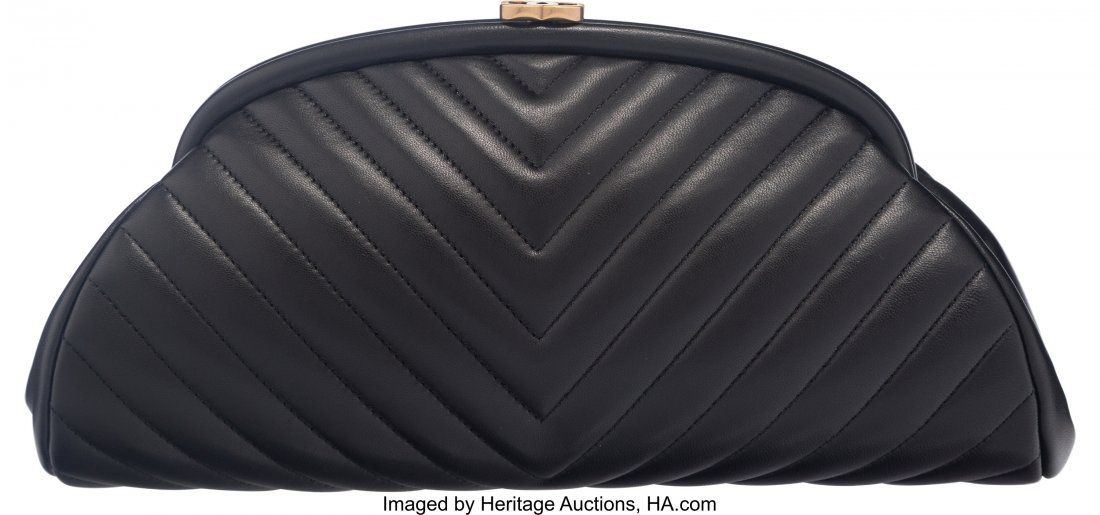 58024: Chanel Black Chevron Quilted Lambskin Leather Ti