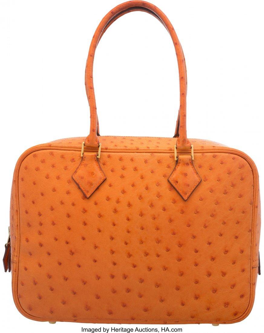 58095: Hermes 28cm Orange H Ostrich Leather Plume Bag w