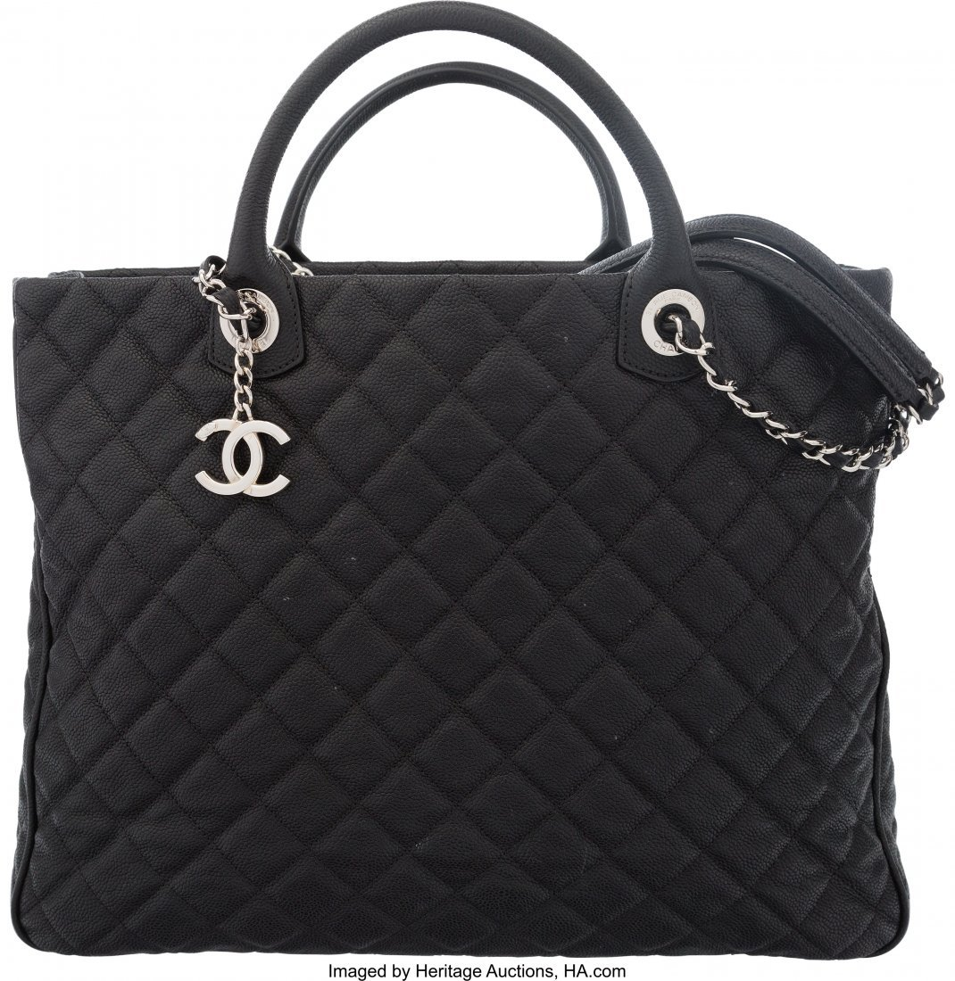 58025: Chanel Black Quilted Caviar Leather Large Shoppi