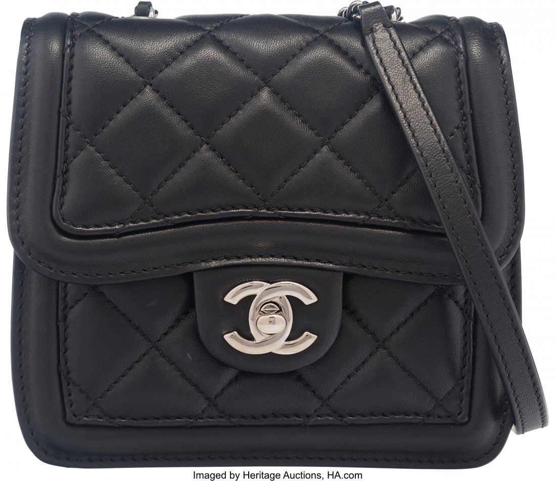 58027: Chanel Black and White Quilted Lambskin Mini Fla