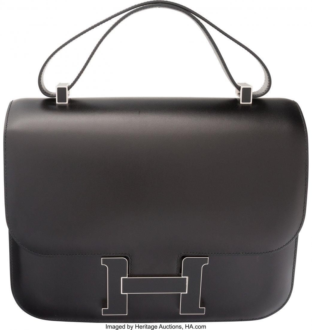 58200: Hermes 29cm Black Calf Box Leather Double Gusset