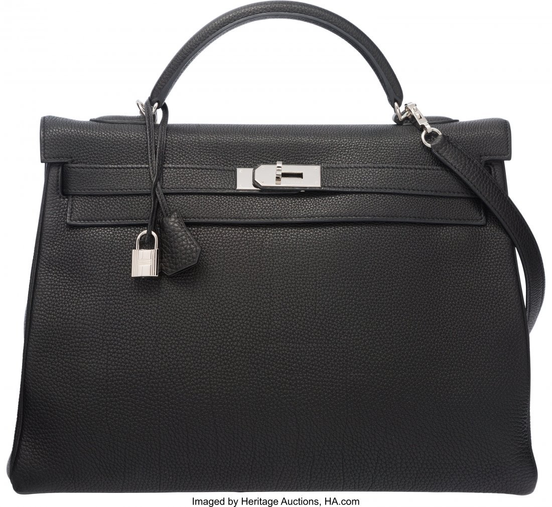 58202: Hermes 40cm Black Togo Leather Kelly Bag with Pa