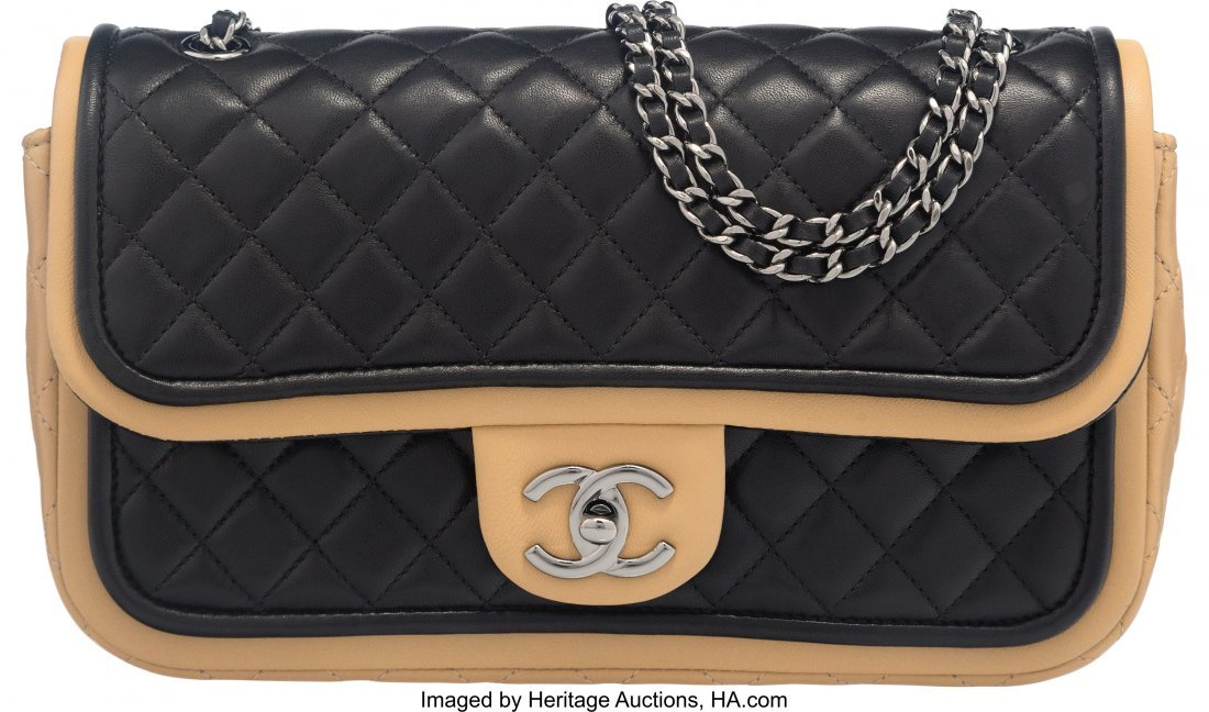58031: Chanel Black and Dark Beige Quilted Lambskin Med