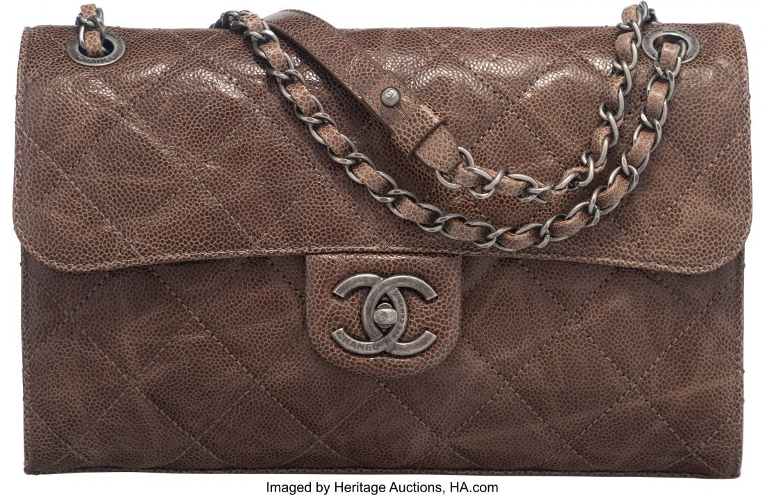 58032: Chanel Dark Taupe Distressed Caviar Leather Flap