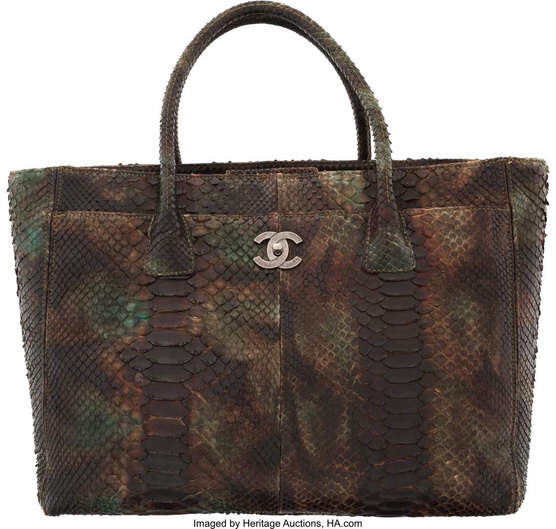 58034: Chanel Green & Brown Python Cerf Tote Bag Condit